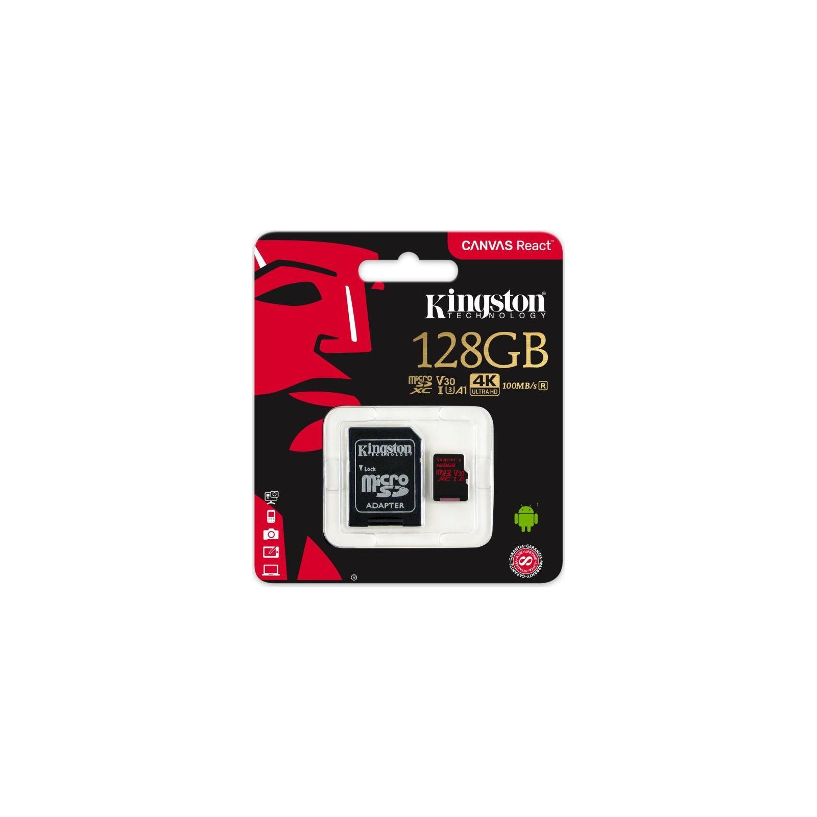 Карта памяти Kingston 128GB microSDXC class 10 UHS-I U3 (SDCR/128GB) изображение 3