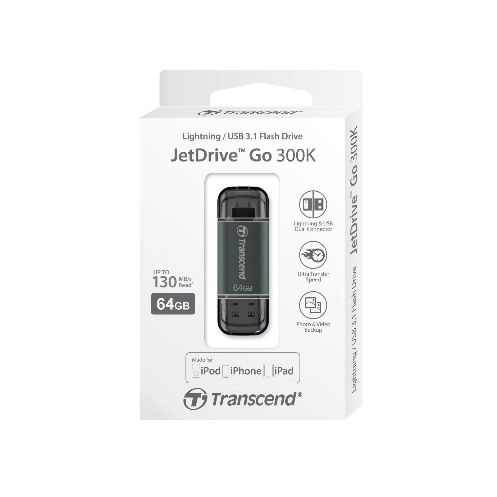 USB флеш накопитель Transcend 64GB JetDrive Go 300 Black USB 3.1 (TS64GJDG300K) изображение 5