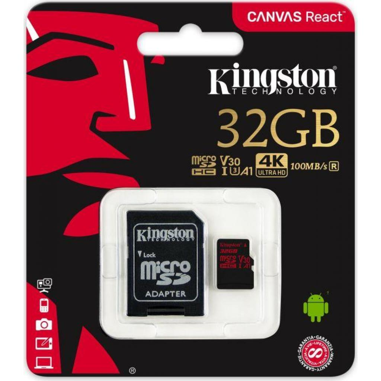 Карта памяти Kingston 32GB microSDHC class 10 UHS-I U3 (SDCR/32GB) изображение 3