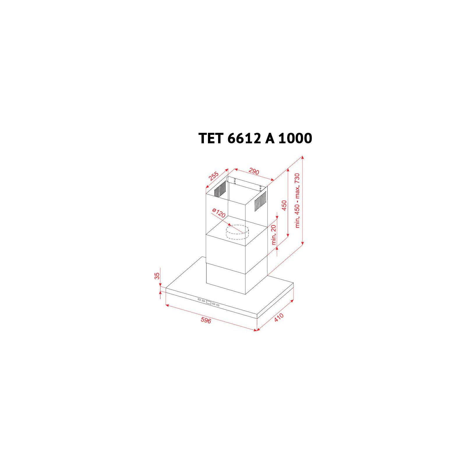 Вытяжка кухонная PERFELLI TET 6612 A 1000 I LED изображение 10