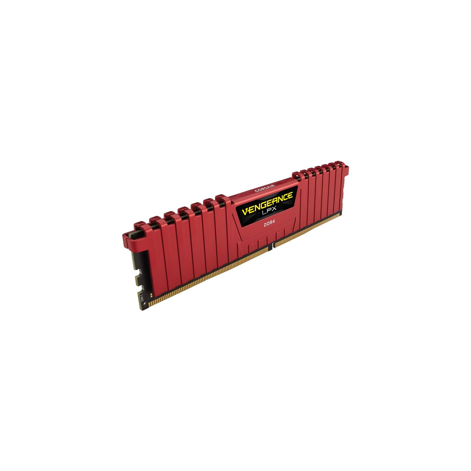 Модуль памяти для компьютера DDR4 8GB 2400 MHz Vengeance LPX Red CORSAIR (CMK8GX4M1A2400C14R) изображение 3