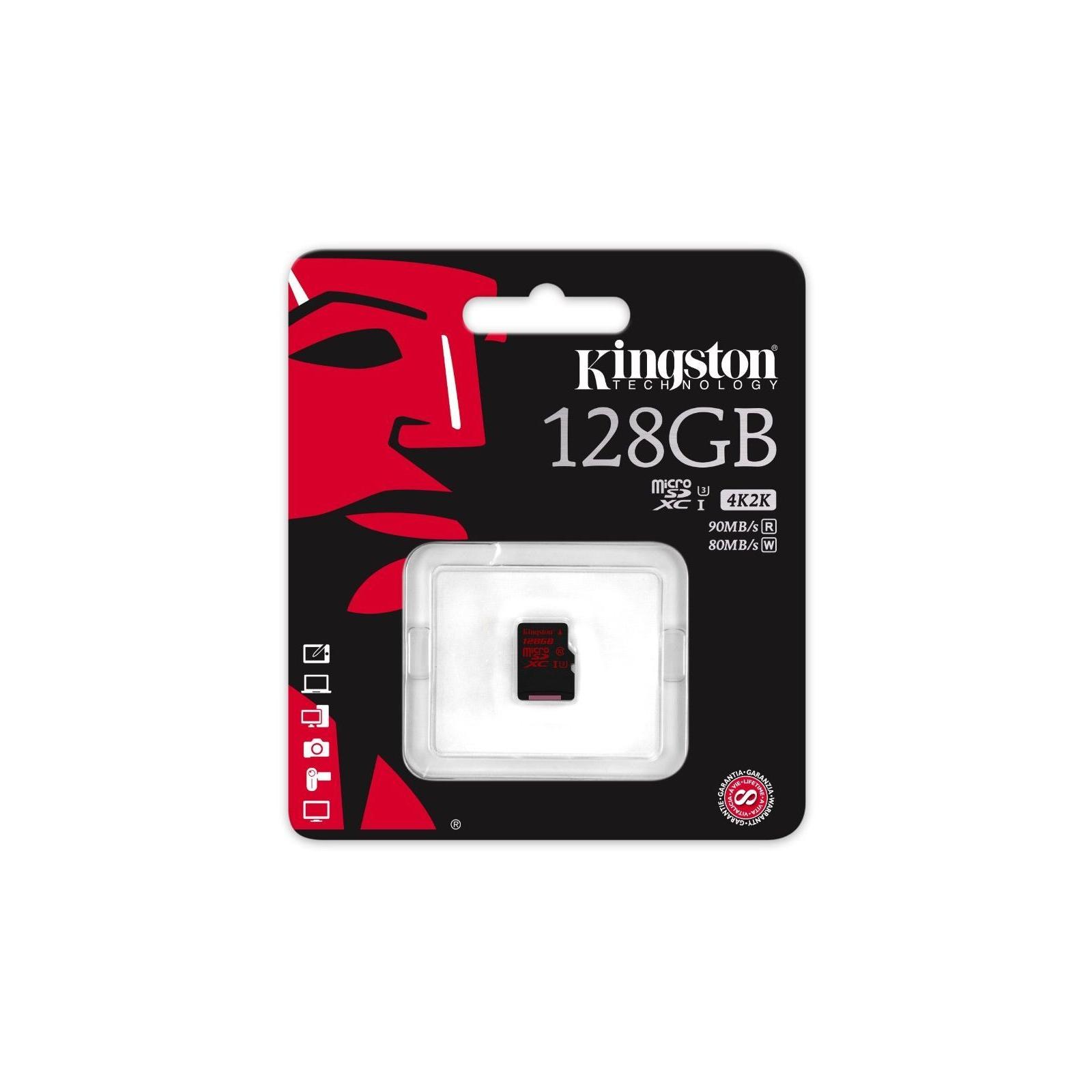 Карта памяти Kingston 128GB microSDXC class10 UHS-I U3 (SDCA3/128GBSP) изображение 2