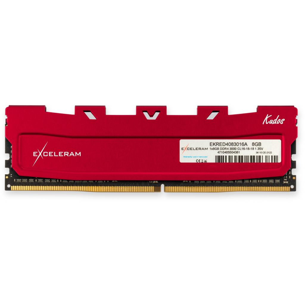 Модуль пам'яті для комп'ютера DDR4 8GB 3000 MHz Red Kudos eXceleram (EKRED4083016A)