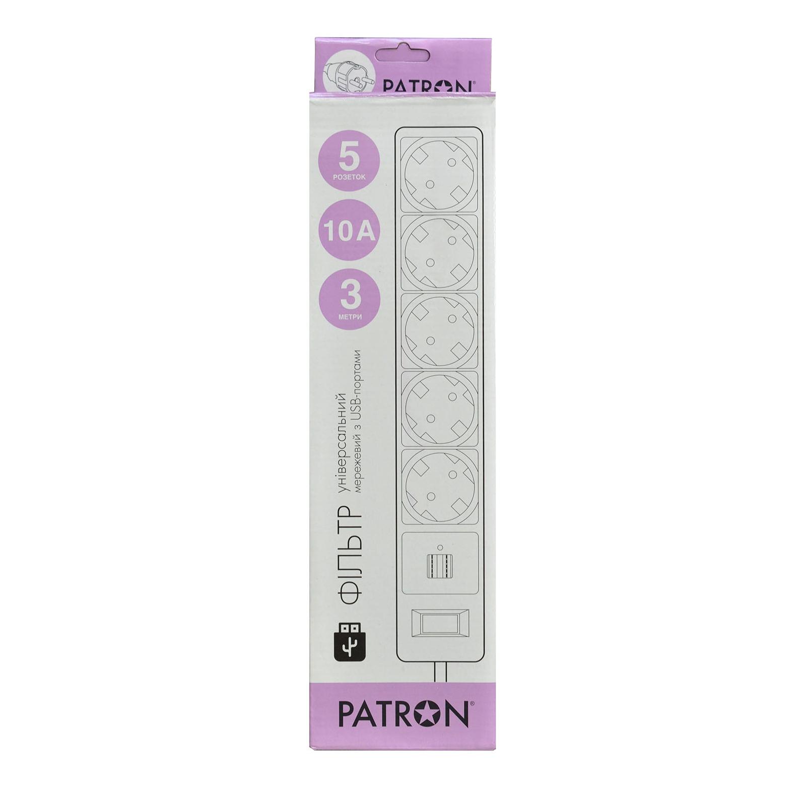 Сетевой фильтр питания Patron 3m (SP-53) + 2 USB 2.0, 2.1A , 5 роз. BLACK (EXT-PN-SP-53-USB) изображение 2