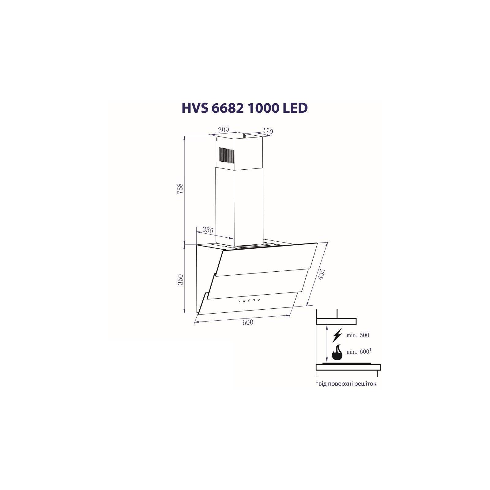 Вытяжка кухонная MINOLA HVS 6682 WH 1000 LED изображение 8