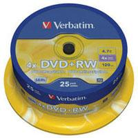 Диск DVD+RW Verbatim 4.7Gb 4x CakeBox 25 шт silver (43489)