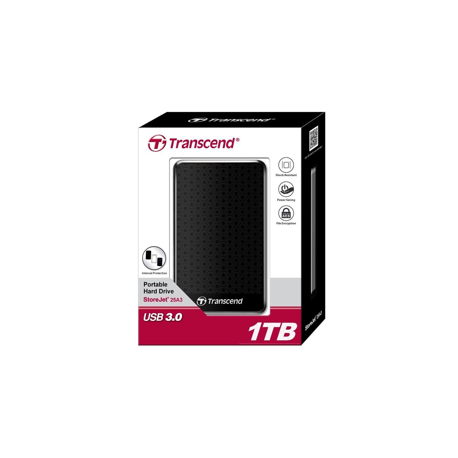 "Внешний жесткий диск 2.5"" 1TB Transcend (TS1TSJ25A3K) изображение 3"