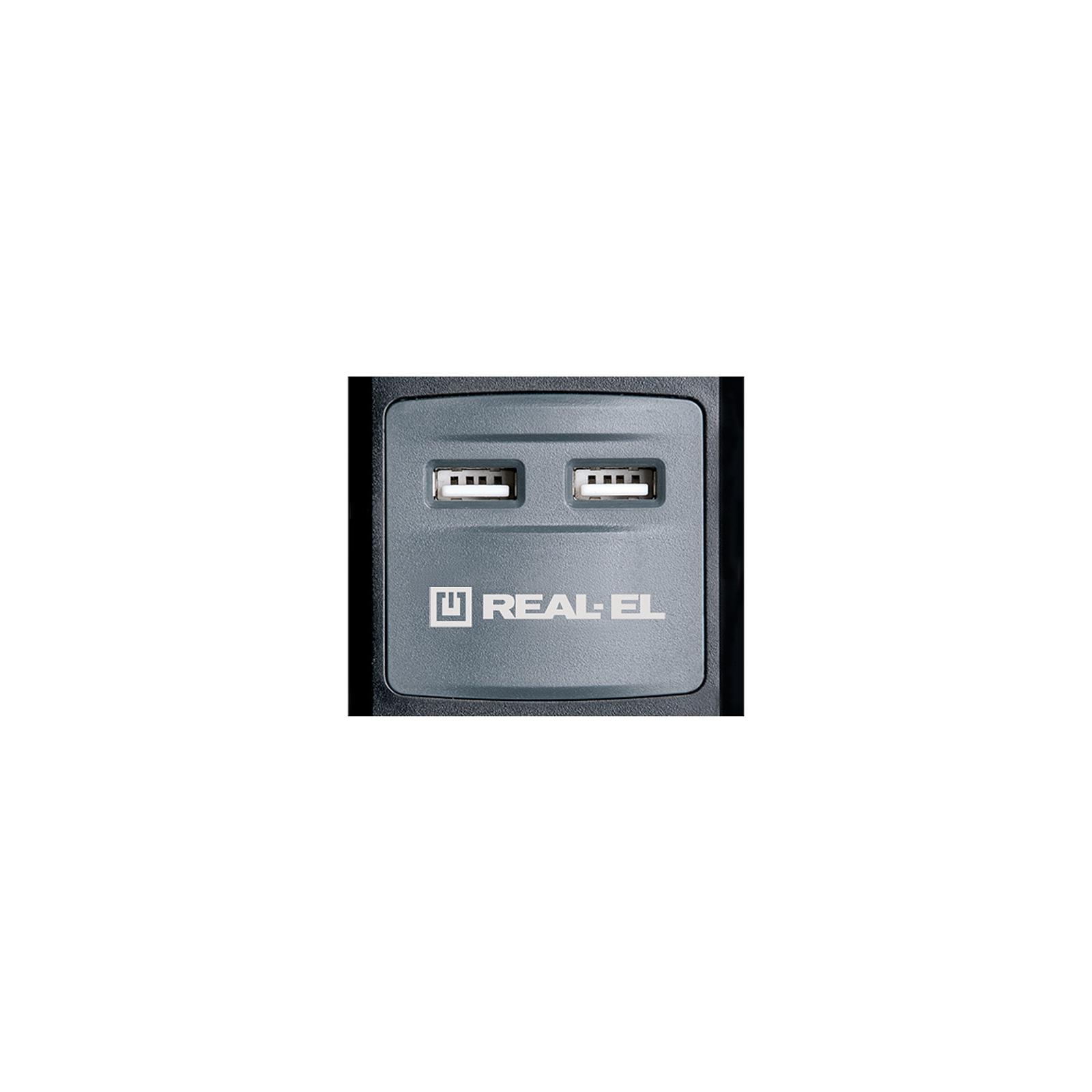 Сетевой удлинитель REAL-EL RS-5 USB CHARGE 3m, black (EL122500003) изображение 2