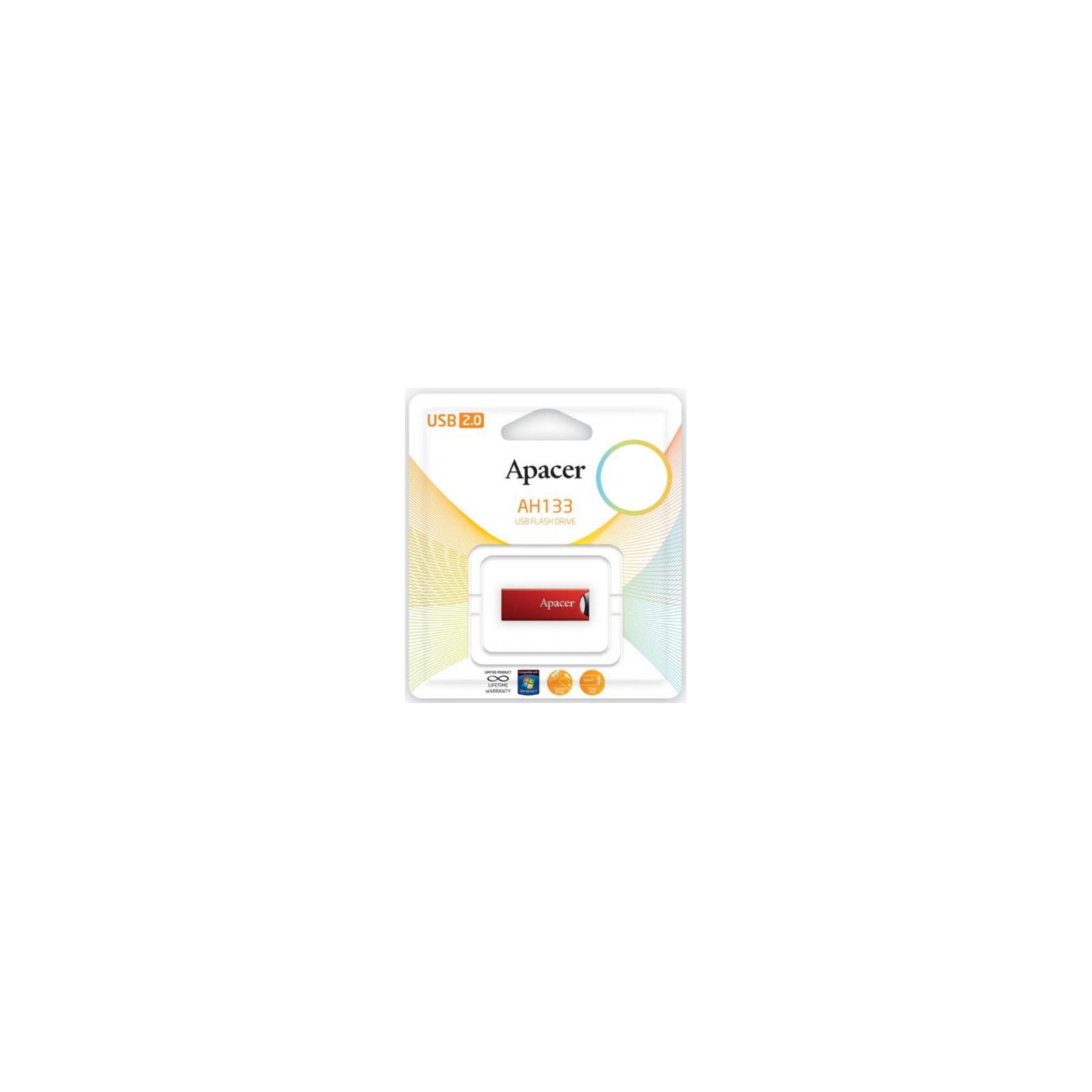 USB флеш накопитель 32GB AH133 Red RP USB2.0 Apacer (AP32GAH133R-1) изображение 4
