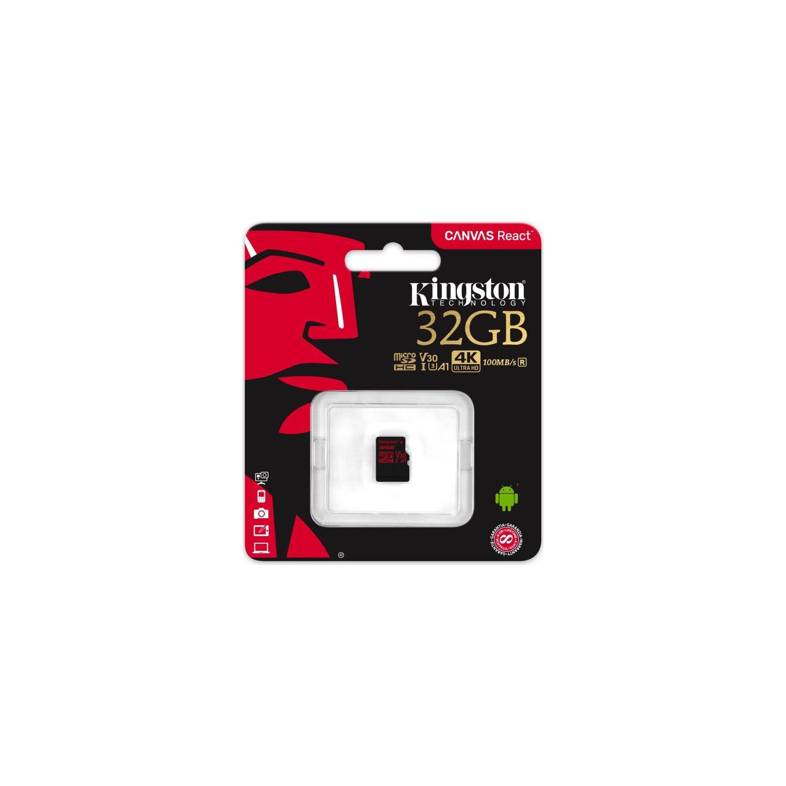 Карта памяти Kingston 32GB microSDHC class 10 UHS-I U3 (SDCR/32GBSP) изображение 3