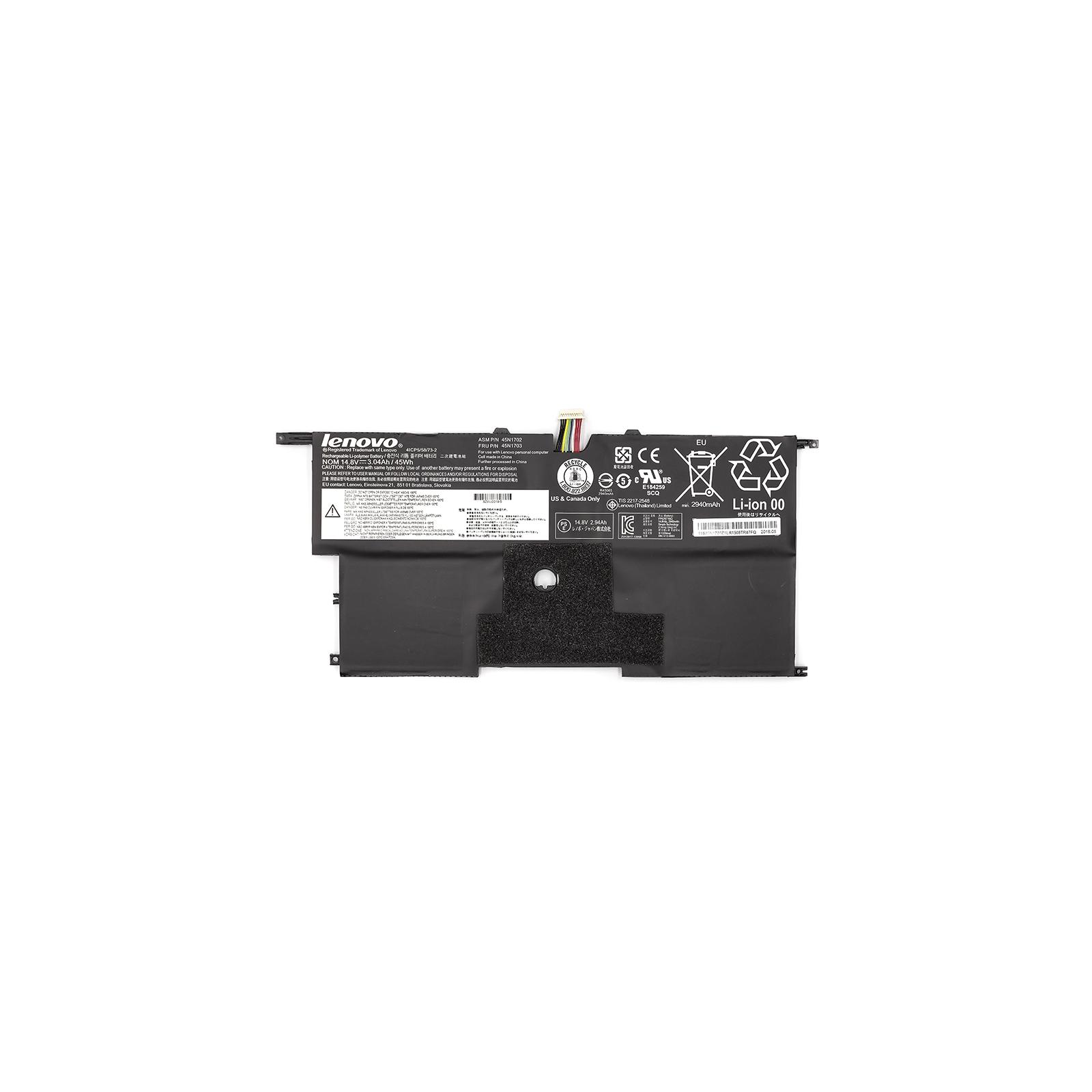 "Аккумулятор для ноутбука Lenovo ThinkPad X1 Carbon 14"" 2nd (45N1700) 14.8V 45Wh (NB480678) изображение 2"