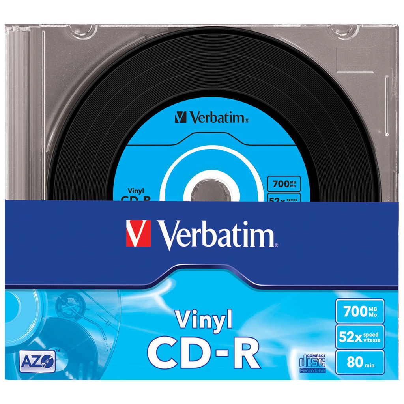 Диск CD Verbatim 700Mb 52x Slim case Vinyl AZO (43426) изображение 2