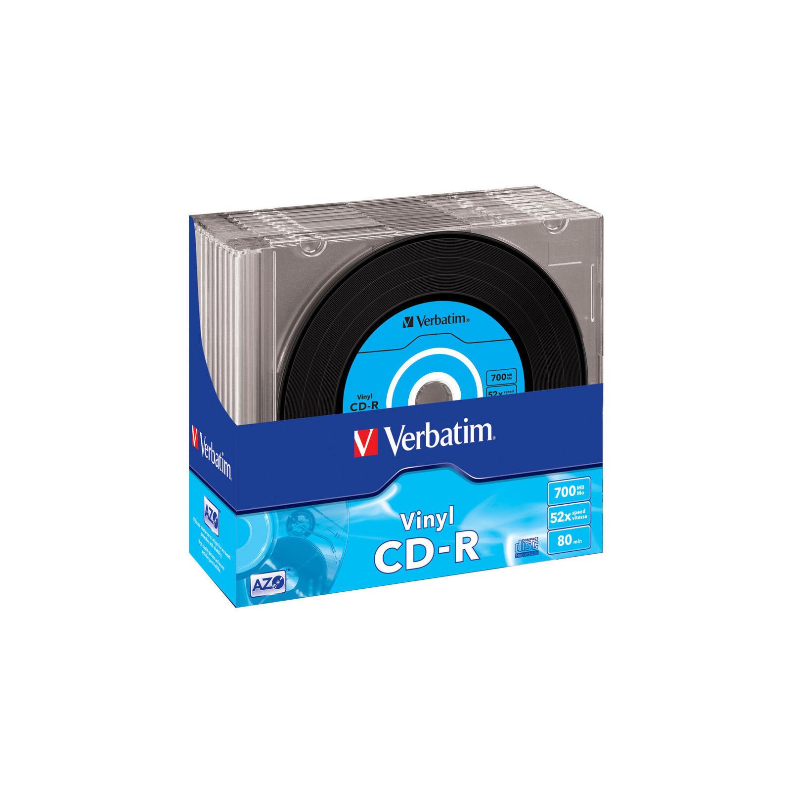 Диск CD Verbatim 700Mb 52x Slim case Vinyl AZO (43426)