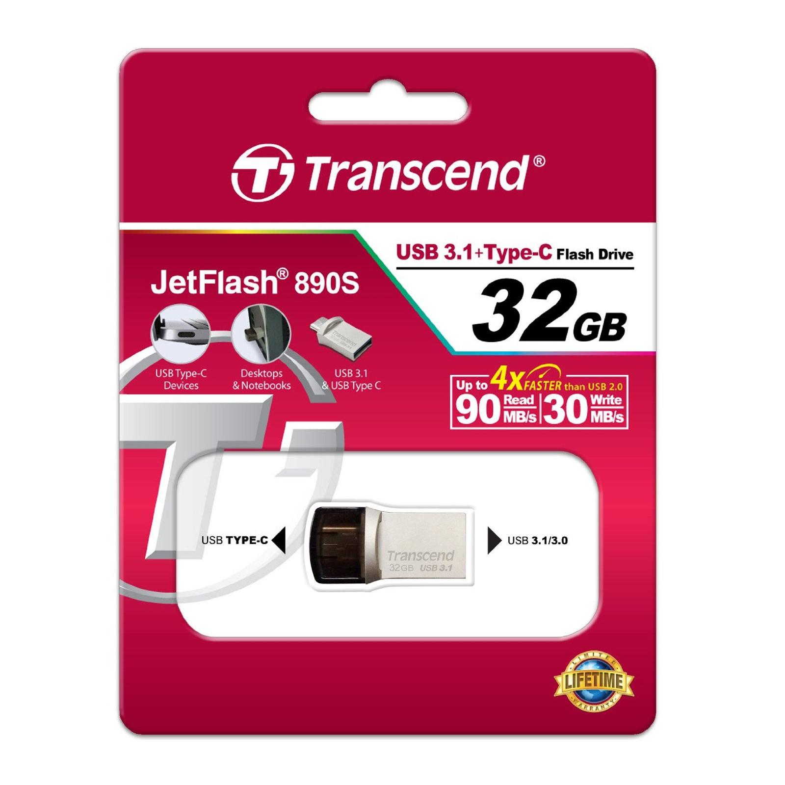 USB флеш накопитель Transcend 32GB JetFlash 890S Silver USB 3.1 (TS32GJF890S) изображение 4