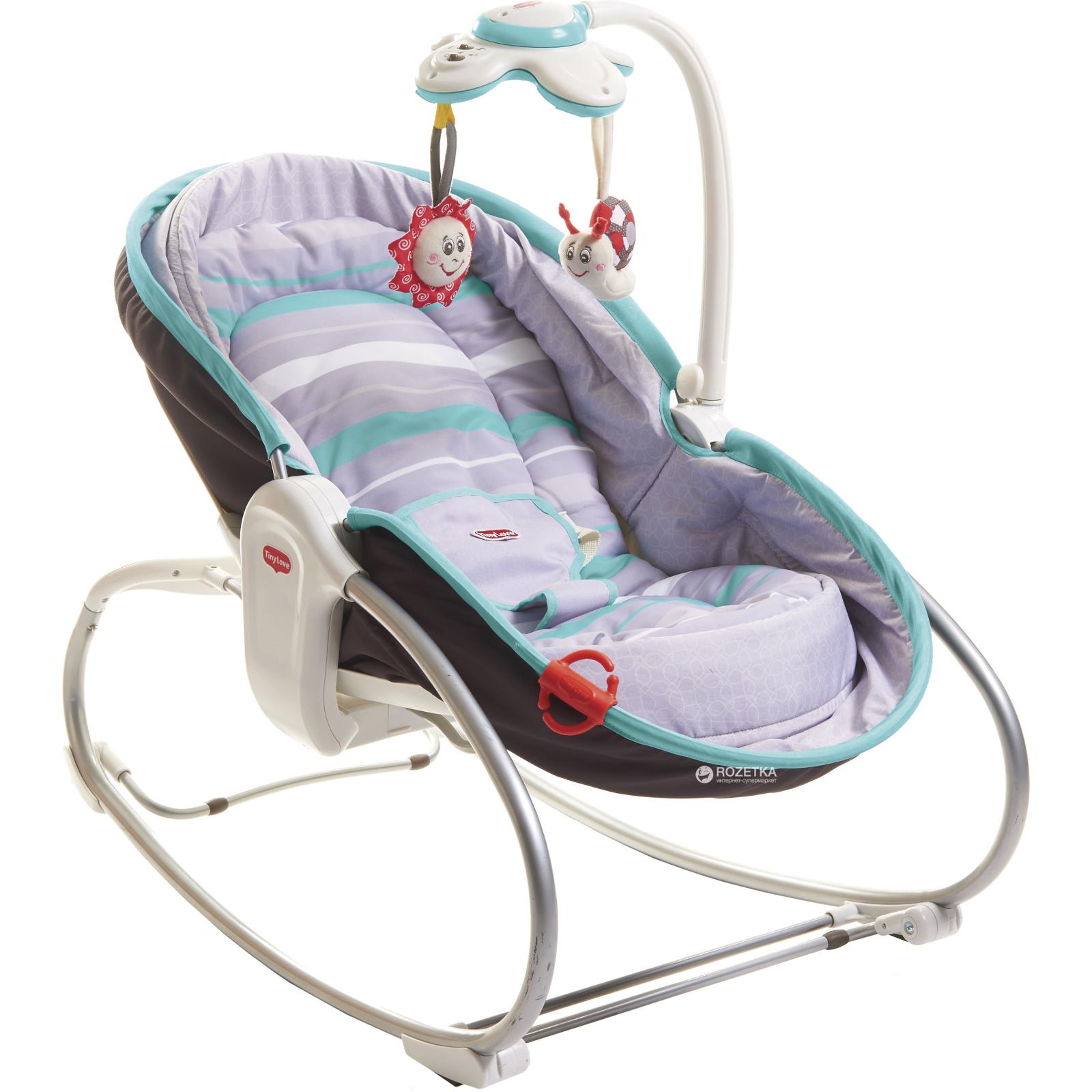 Кресло-качалка Tiny Love 3 в 1 Мамина любовь серо-бирюзовый (1802606130)
