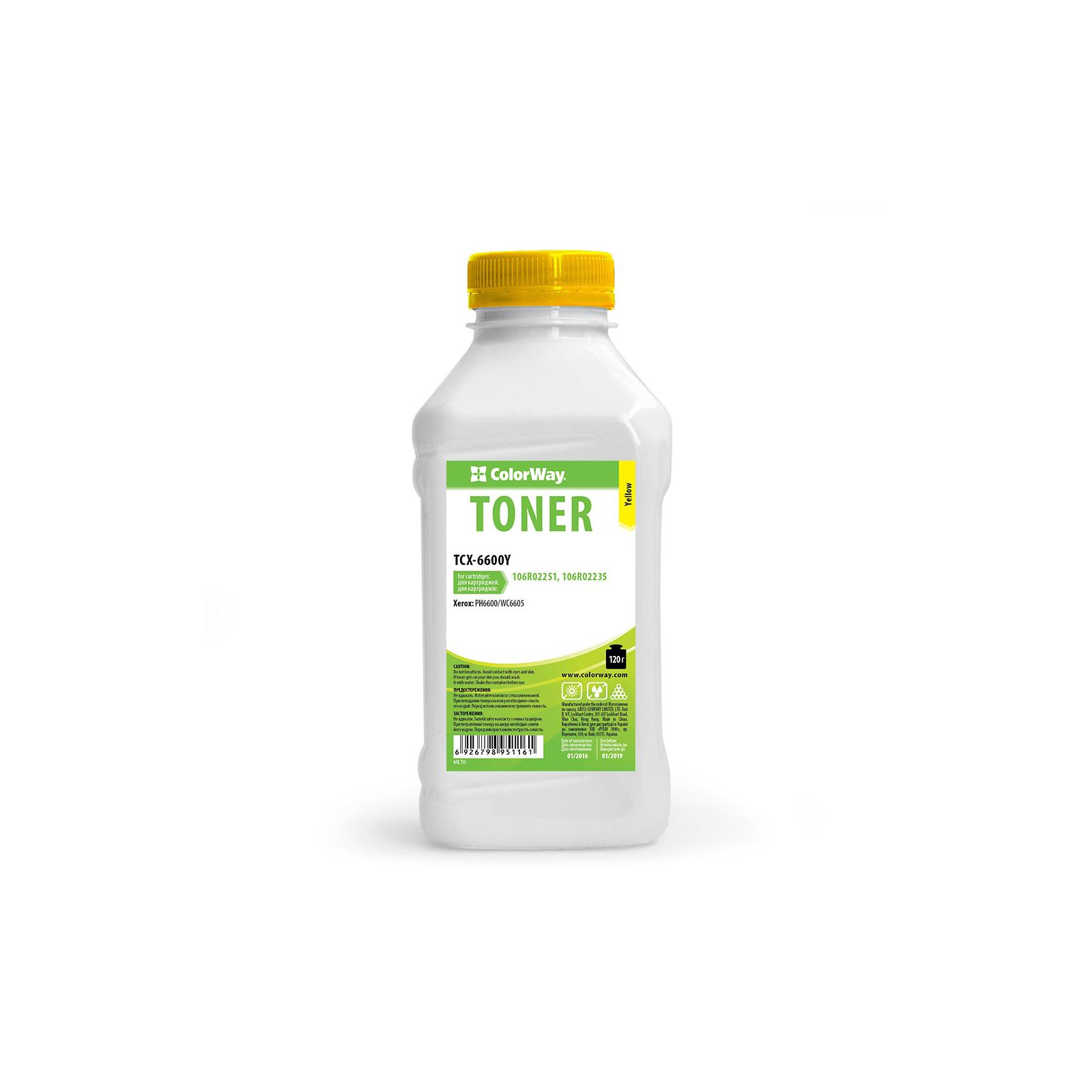 Тонер Xerox Phaser 6600/6180/6280 Yellow 120g ColorWay (TCX-6600Y)