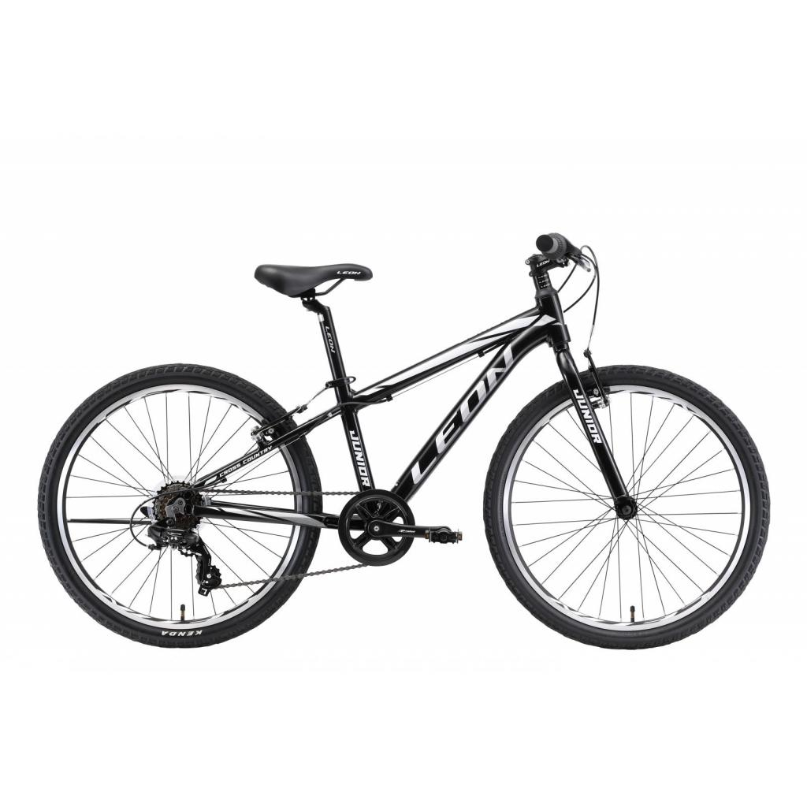 "Велосипед Leon 24"" JUNIOR 2018 AM 14G DD рама-12,5"" Al чёрно-белый (OPS-LN-24-014)"