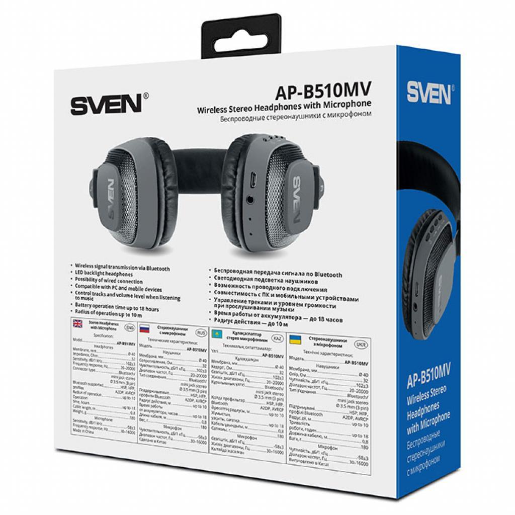 Наушники Sven AP-B510MV Black Bluetooth (AP-B510MV black) изображение 10
