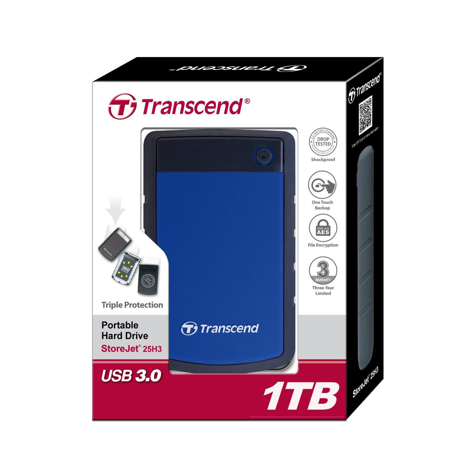 "Внешний жесткий диск 2.5"" 1TB Transcend (TS1TSJ25H3B) изображение 5"