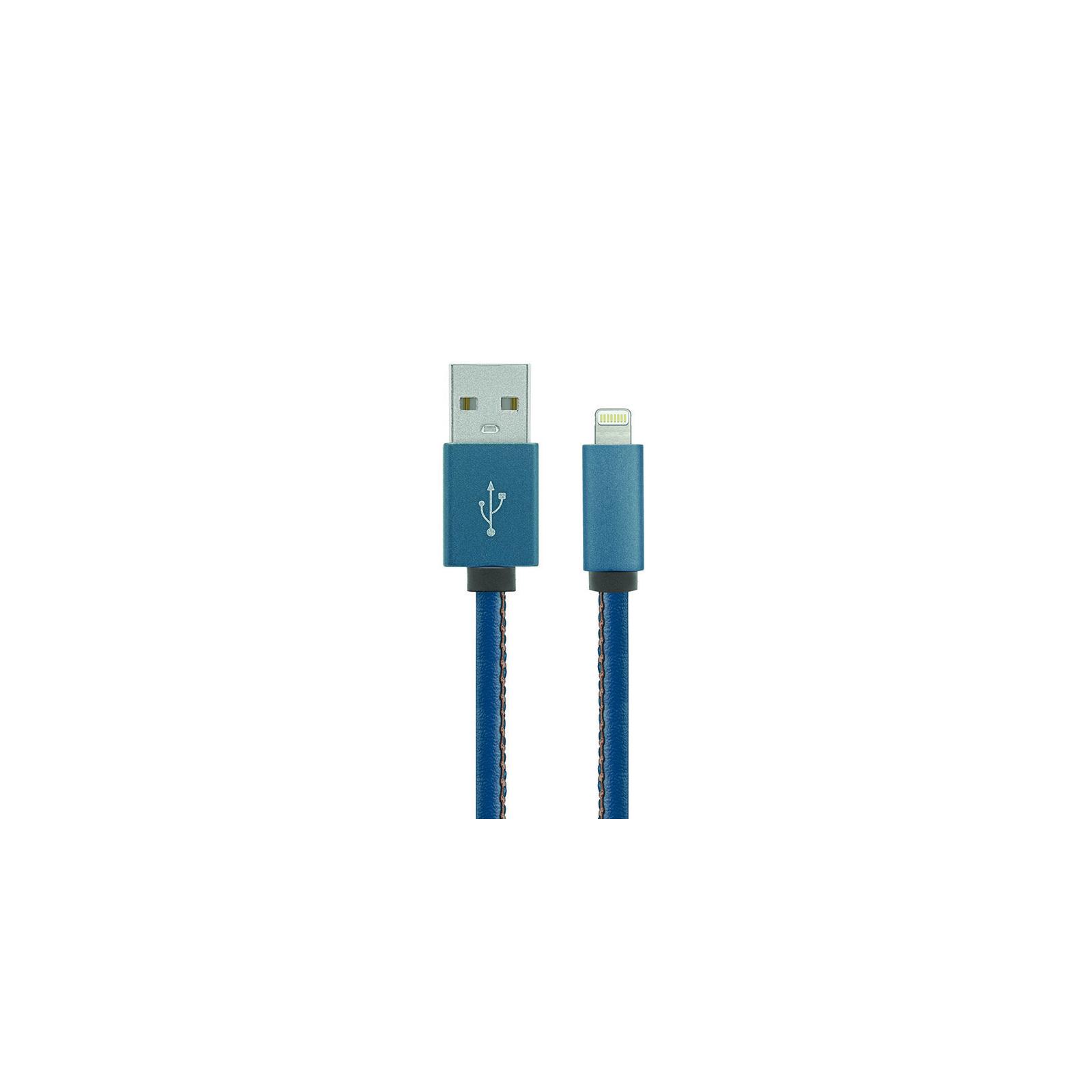 Дата кабель USB 2.0 AM to Lightning 1.0m Leather Edition Blue Gelius (40405)