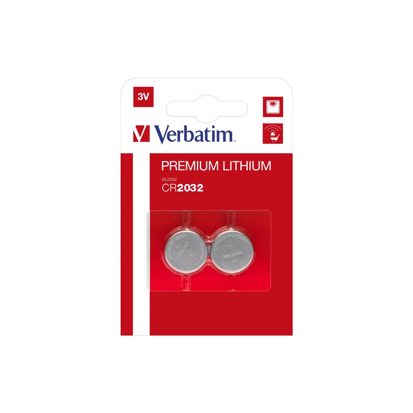 Батарейка Verbatim CR 2032 Lithium 3V * 2 (49936)