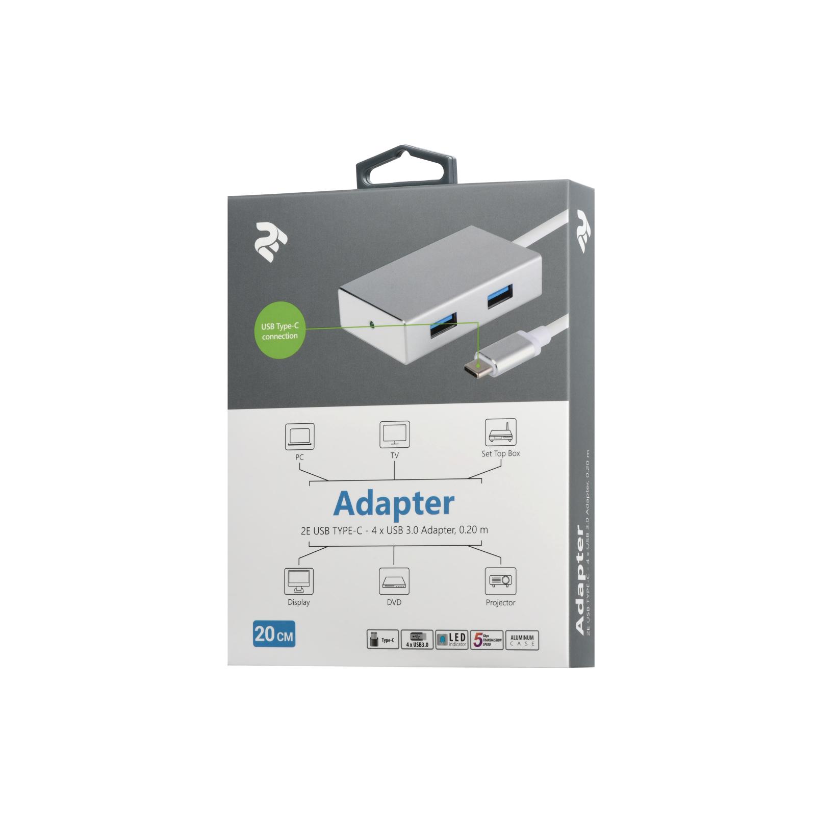 Концентратор 2E Type-C to 4*USB3.0, Aluminum, 0.20 м (2E-W1407) изображение 3