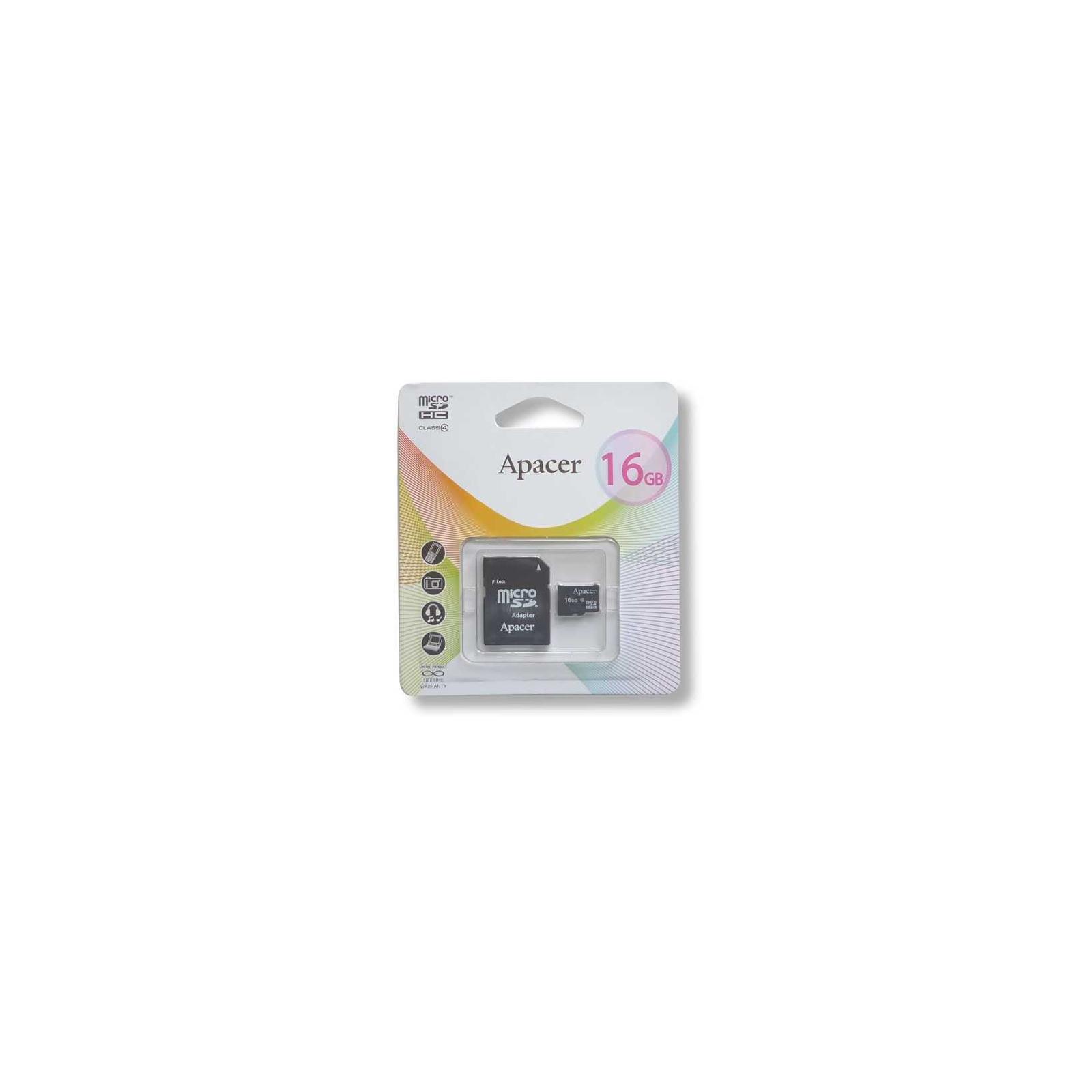Карта памяти Apacer microSDHC Class4 16GB w/ 1 Adapter RP (AP16GMCSH4-R) изображение 2