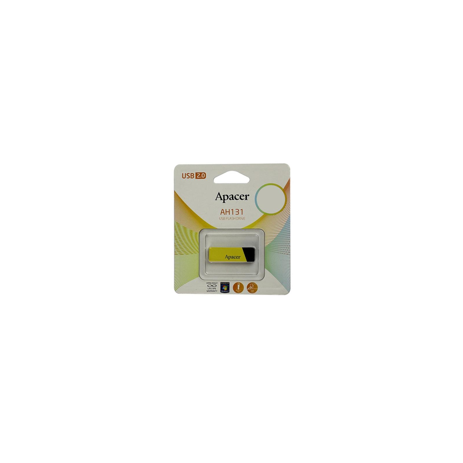 USB флеш накопитель 32GB AH131 Yellow RP USB2.0 Apacer (AP32GAH131Y-1) изображение 6