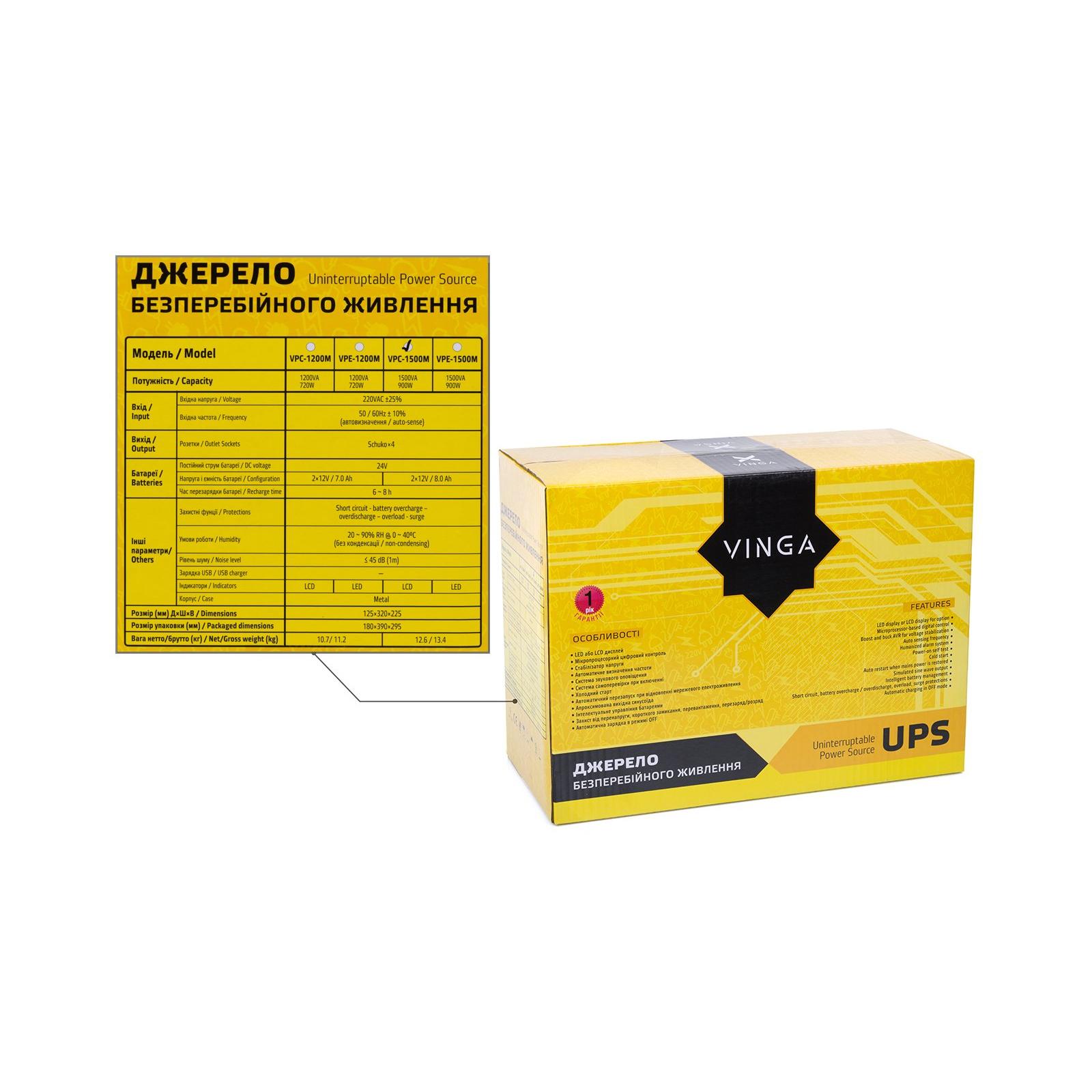 Источник бесперебойного питания Vinga LCD 2000VA metall case (VPC-2000M) изображение 12