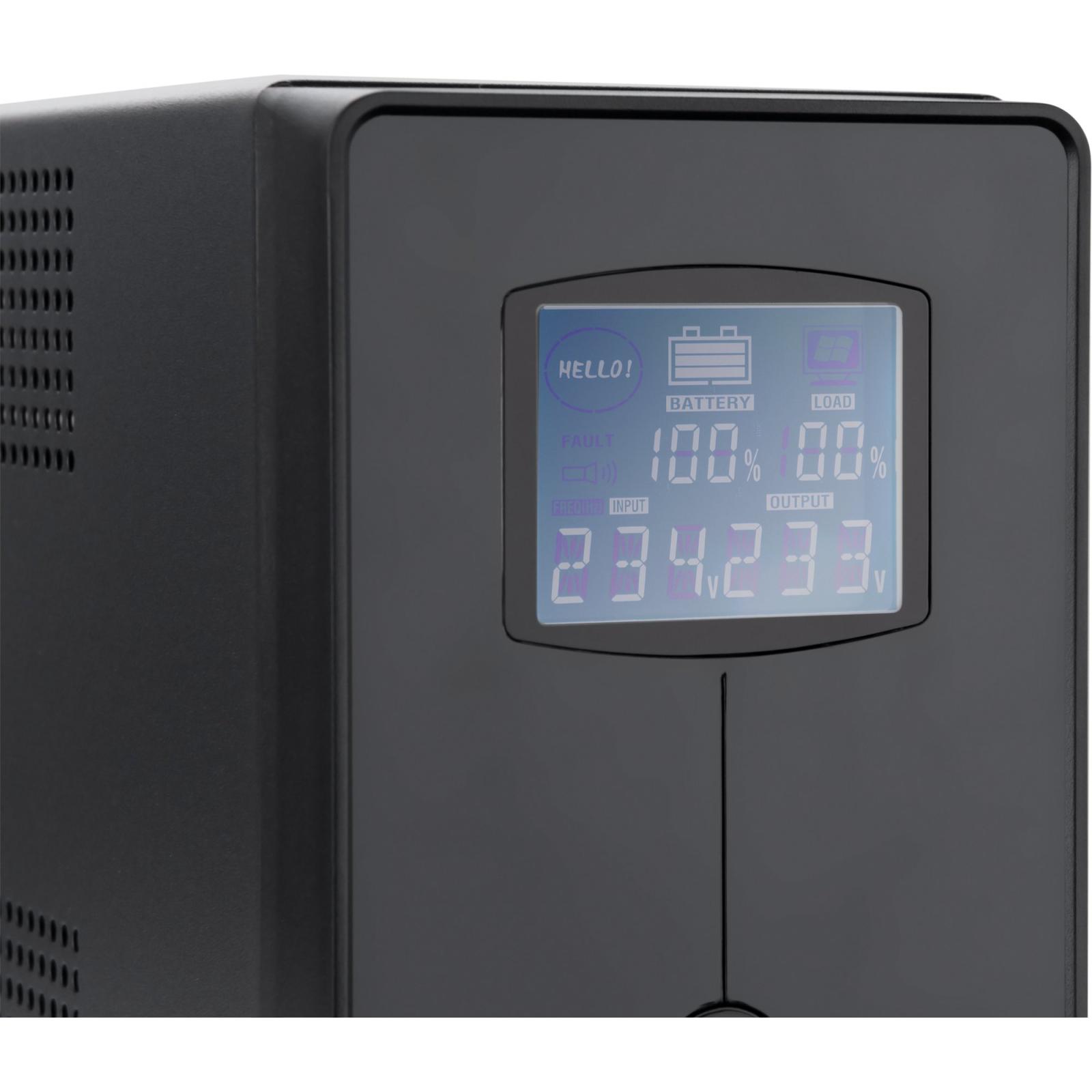 Источник бесперебойного питания Vinga LCD 2000VA metall case (VPC-2000M) изображение 3