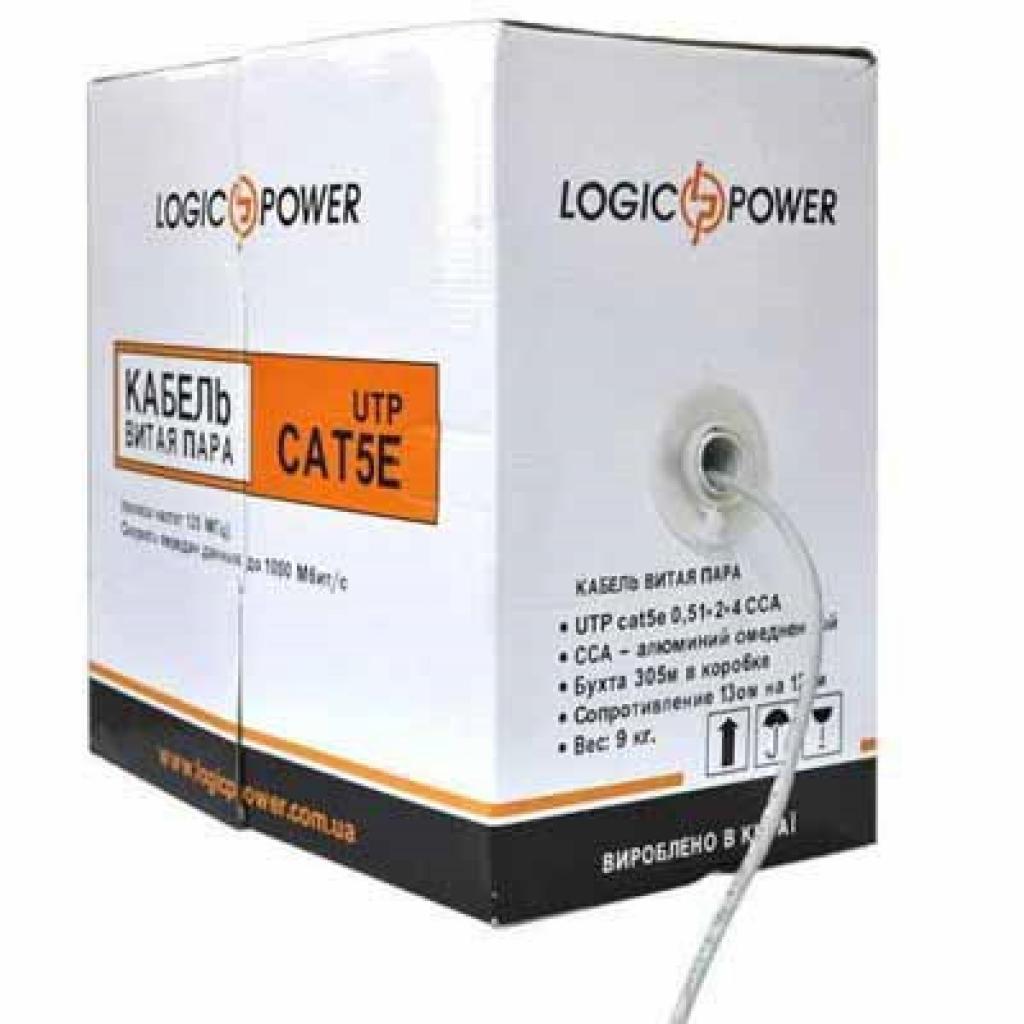 Кабель сетевой LogicPower UTP 305м КВП (2*2*0,48) [СCA] (1973)