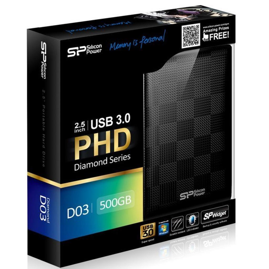 """Внешний жесткий диск Silicon Power 2.5"""" 500GB (SP500GBPHDD03S3K) изображение 3"""