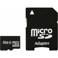 Карта памяти eXceleram 64Gb microSDHC class 10 с адаптером SD, UHS-I (MSD6410A)