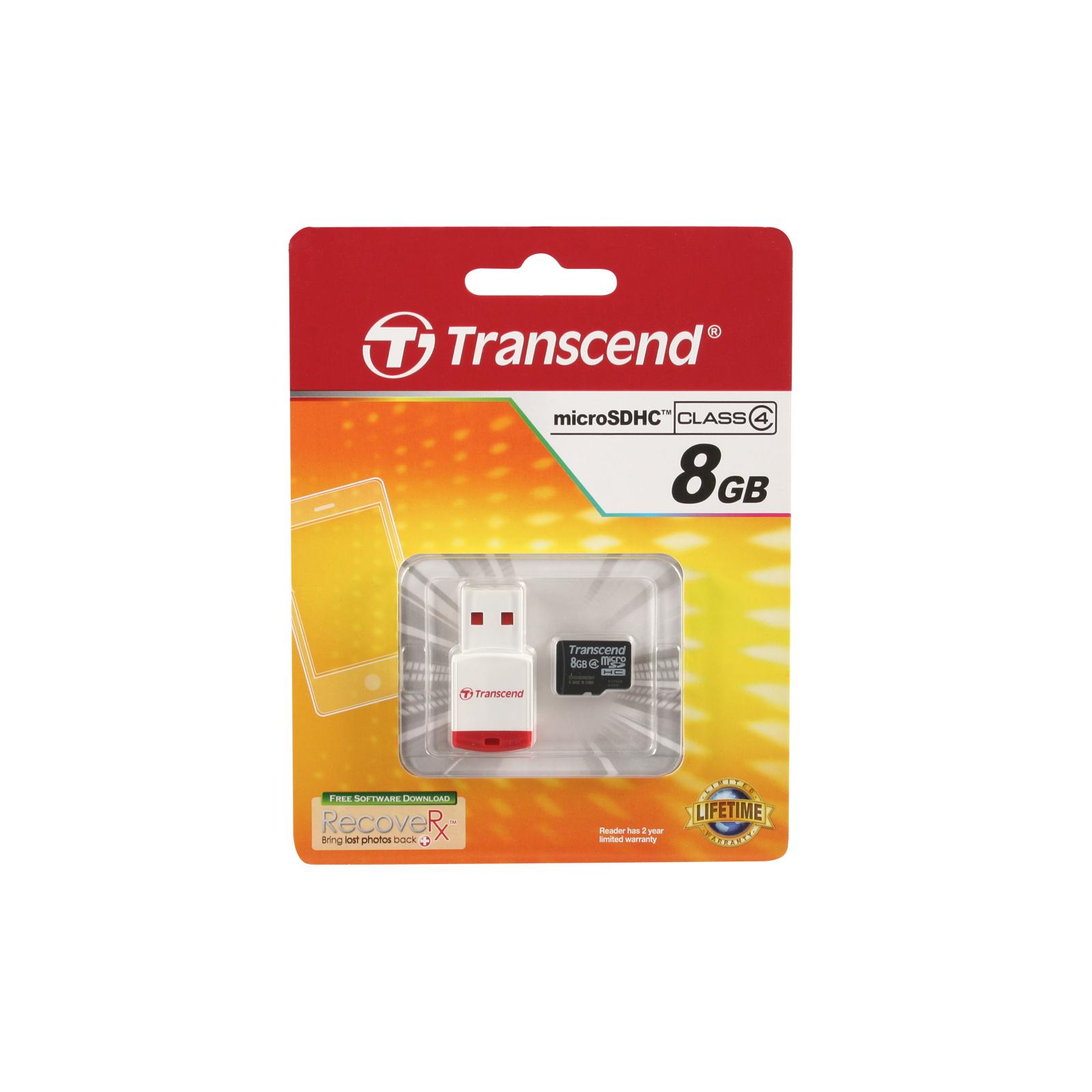 Карта памяти Transcend 8Gb microSDHC class 4 (TS8GUSDHC4-P3) изображение 2