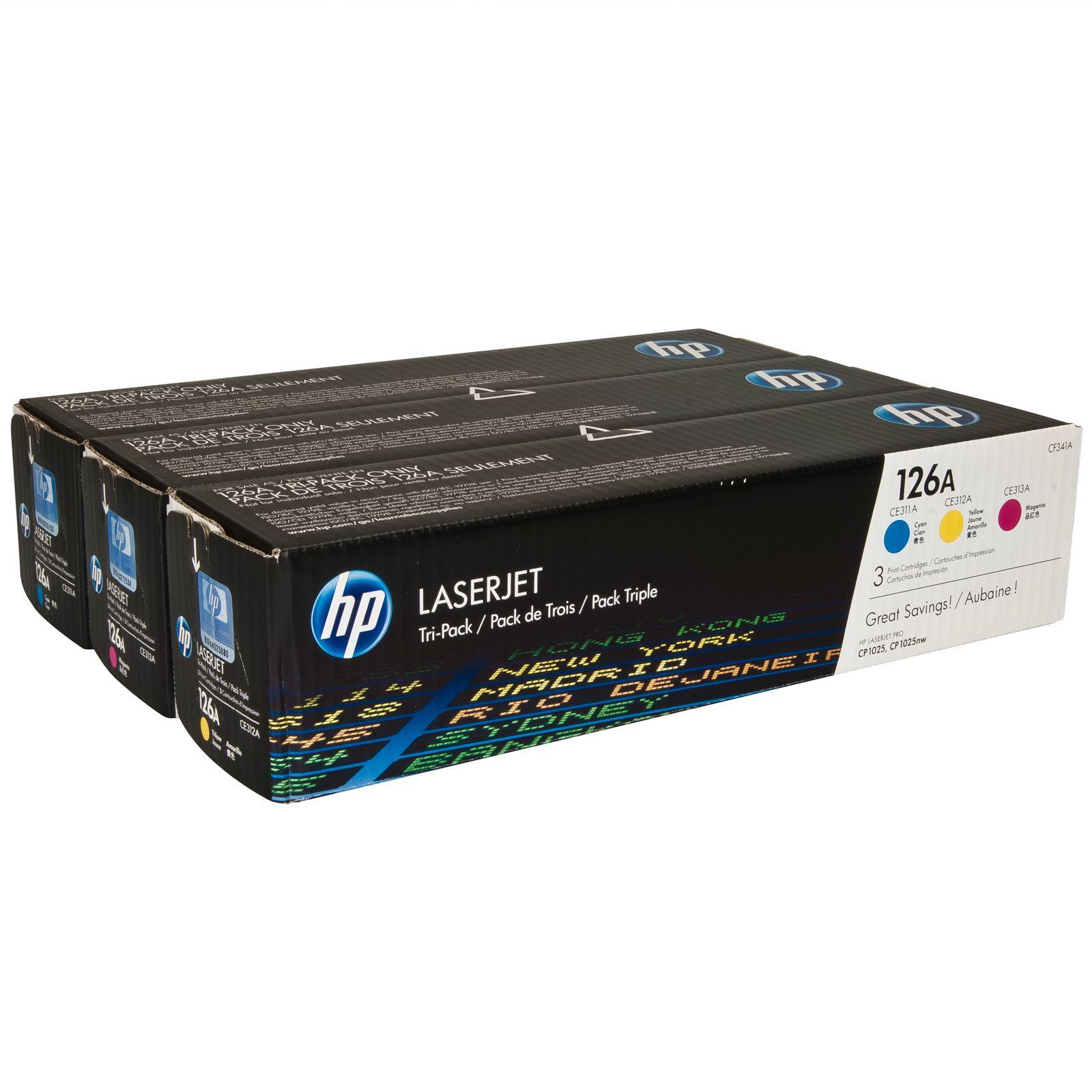 Картридж HP CLJ CP1025/M175 (CE311A,CE312A,CE313A) 126A CYM Tri-Pack (CF341A) изображение 2