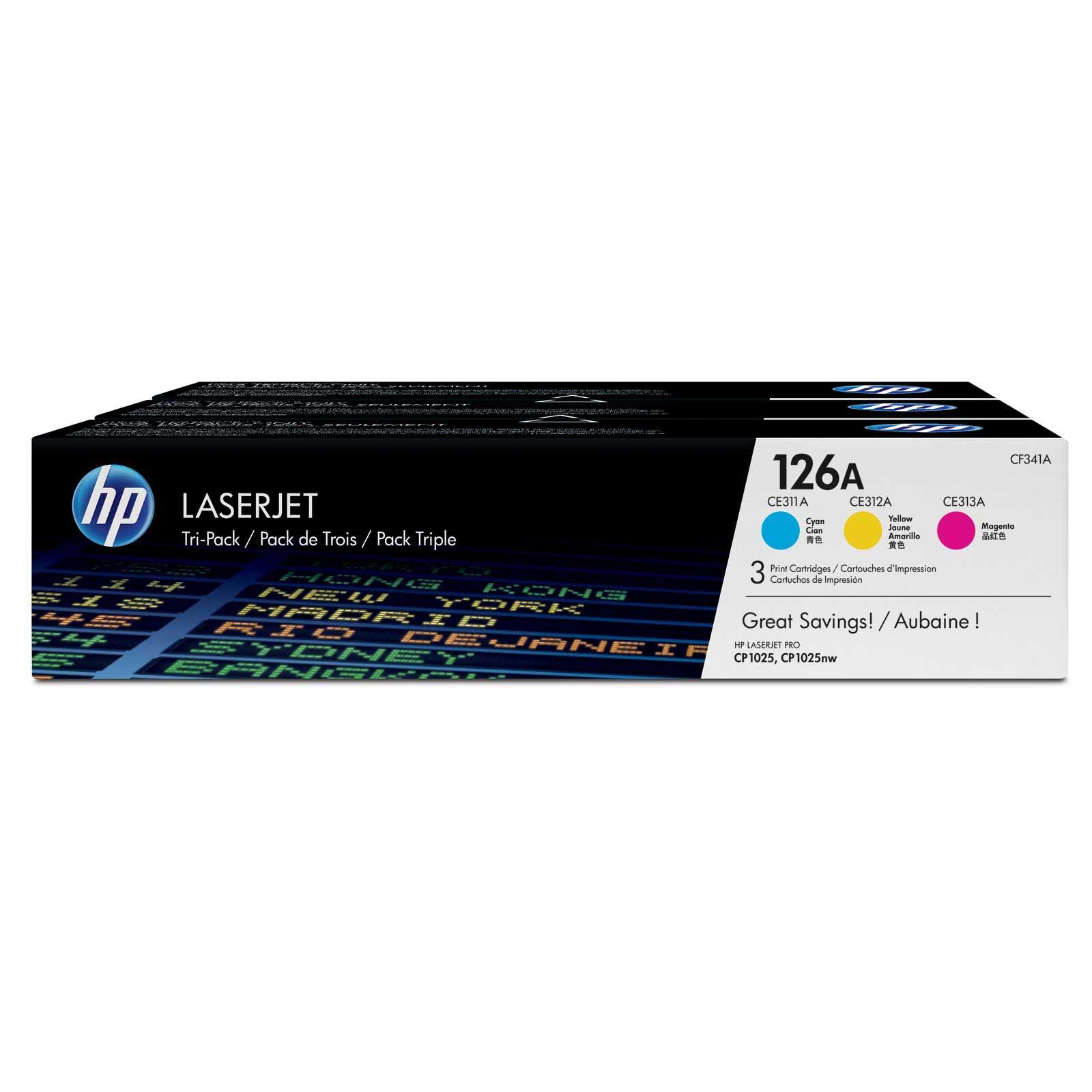 Картридж HP CLJ CP1025/M175 (CE311A,CE312A,CE313A) 126A CYM Tri-Pack (CF341A)