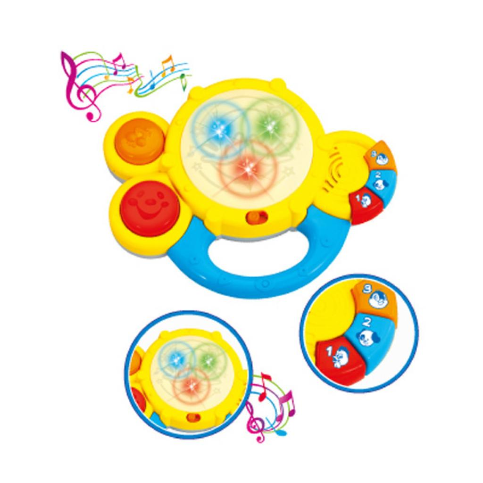 Музыкальная игрушка BeBeLino Музыкальный барабанчик бело-желтый (57067-2) изображение 2