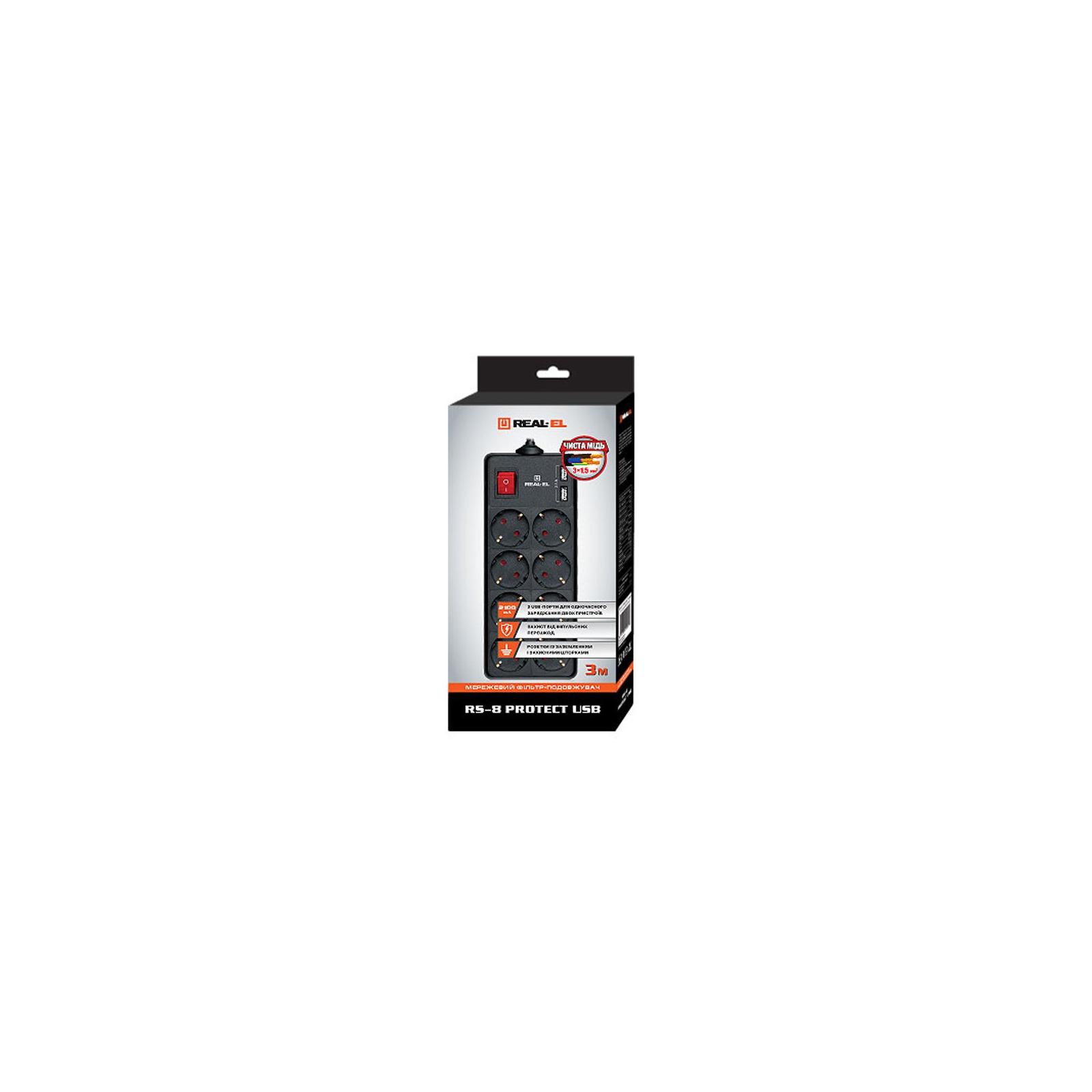 Мережевий фільтр живлення REAL-EL REAL-EL RS-8 PROTECT USB, 3m, black (EL122300020) зображення 2