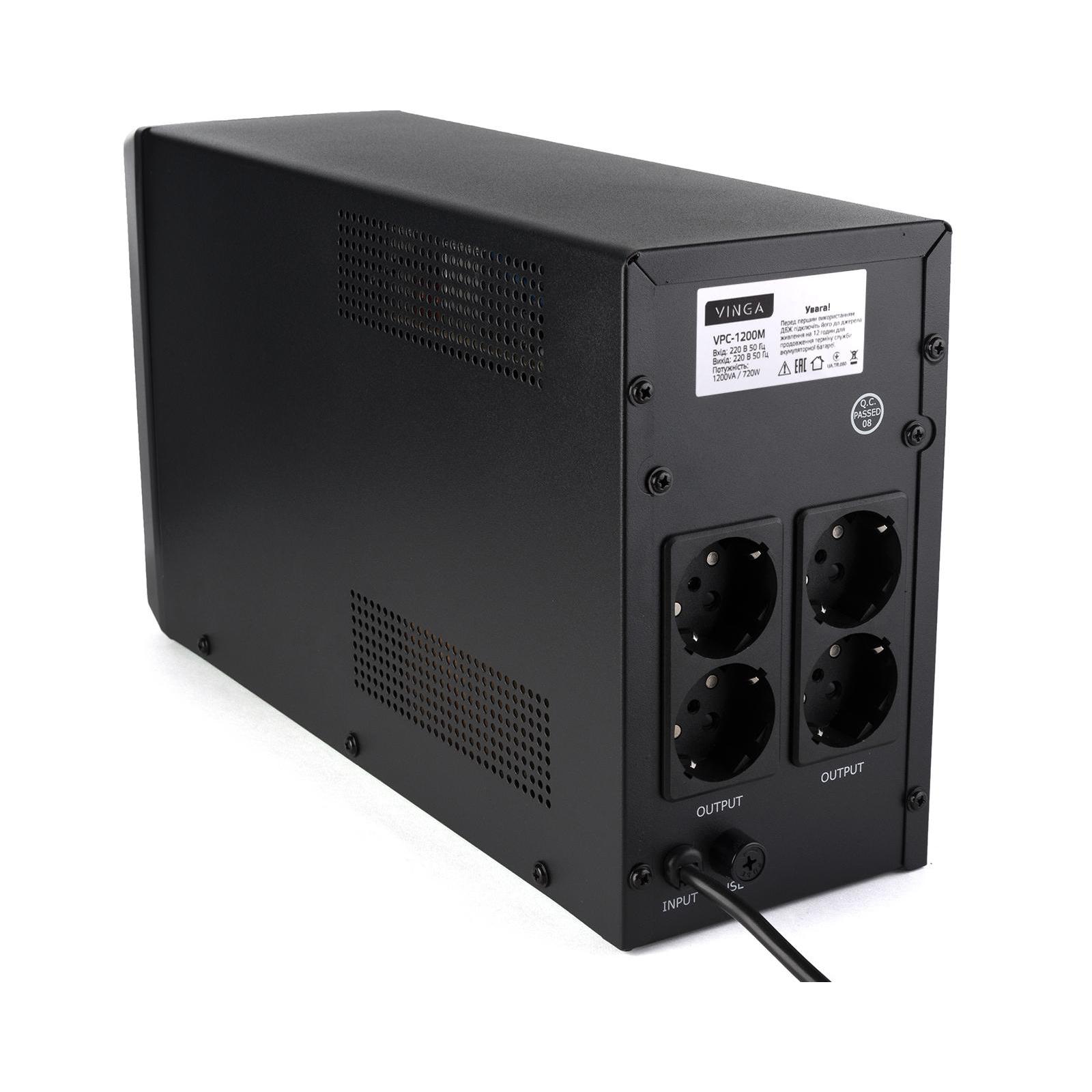Источник бесперебойного питания Vinga LCD 1200VA metal case (VPC-1200M) изображение 10