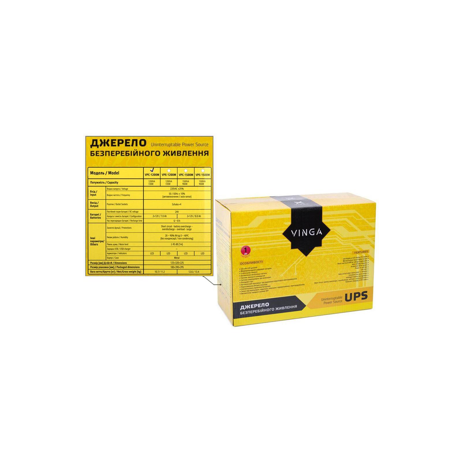Источник бесперебойного питания Vinga LCD 1200VA metal case (VPC-1200M) изображение 12
