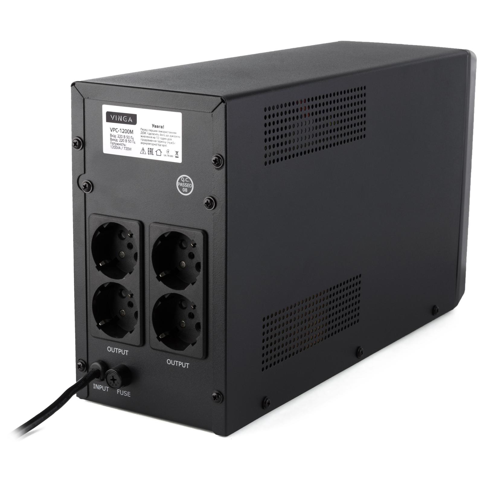 Источник бесперебойного питания Vinga LCD 1200VA metal case (VPC-1200M) изображение 9