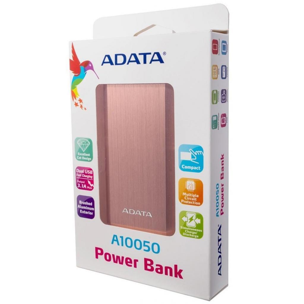 Батарея универсальная ADATA A10050 10050mAh Rose Golden (AA10050-5V-CRG) изображение 5