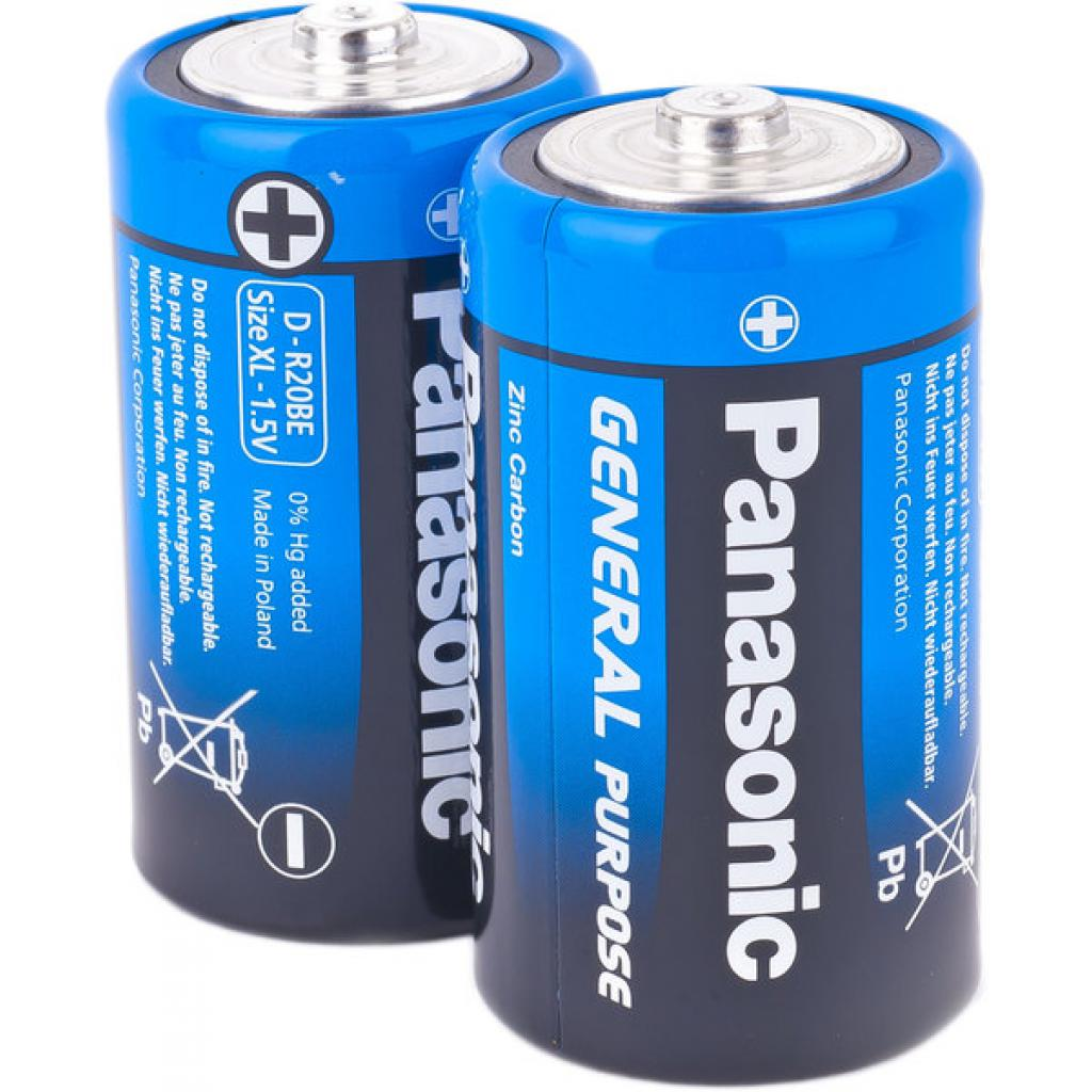Батарейка PANASONIC D ( R20 ) GENERAL PURPOSE TRAY ZINK-CARBON * 2 (R20BER/2P)