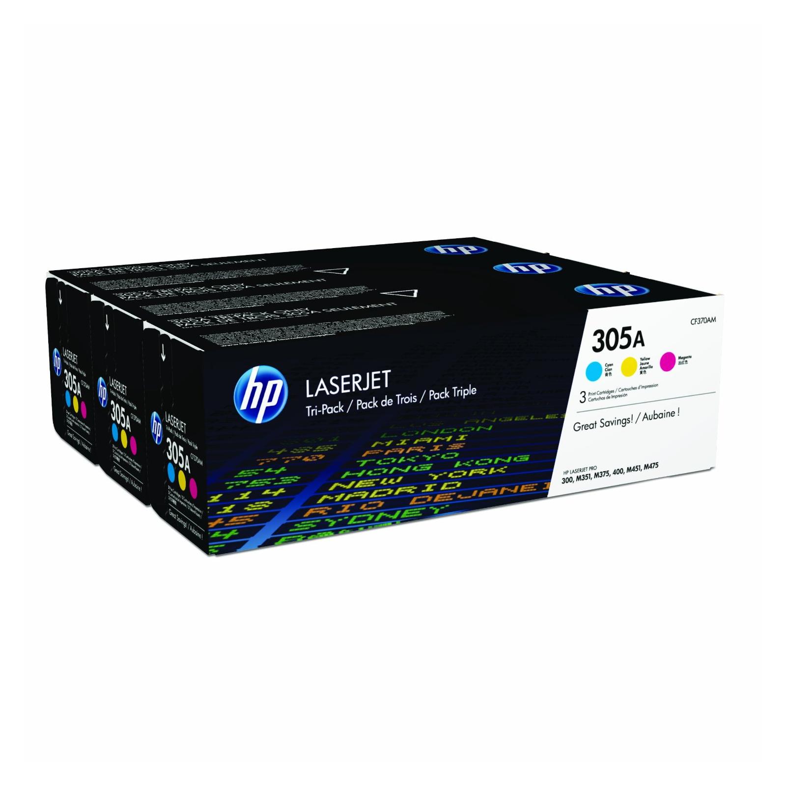 Картридж HP CLJ  305A CYM M351/M451/M375/M475 (CE411A, CE412A, CE413A) (CF370AM)