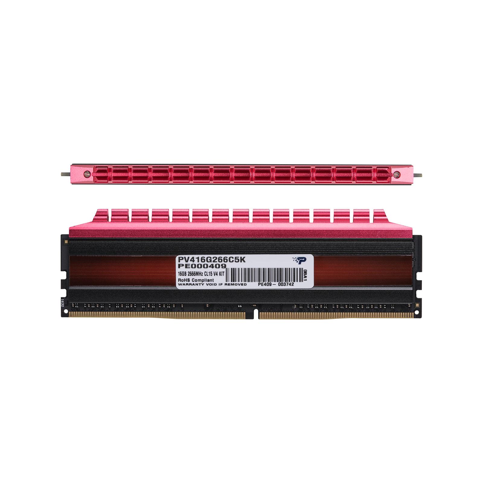 Модуль памяти для компьютера DDR4 16GB (2x8GB) 2666 MHz PE-V4 BLK/RED DUALCH Patriot (PV416G266C5K) изображение 2