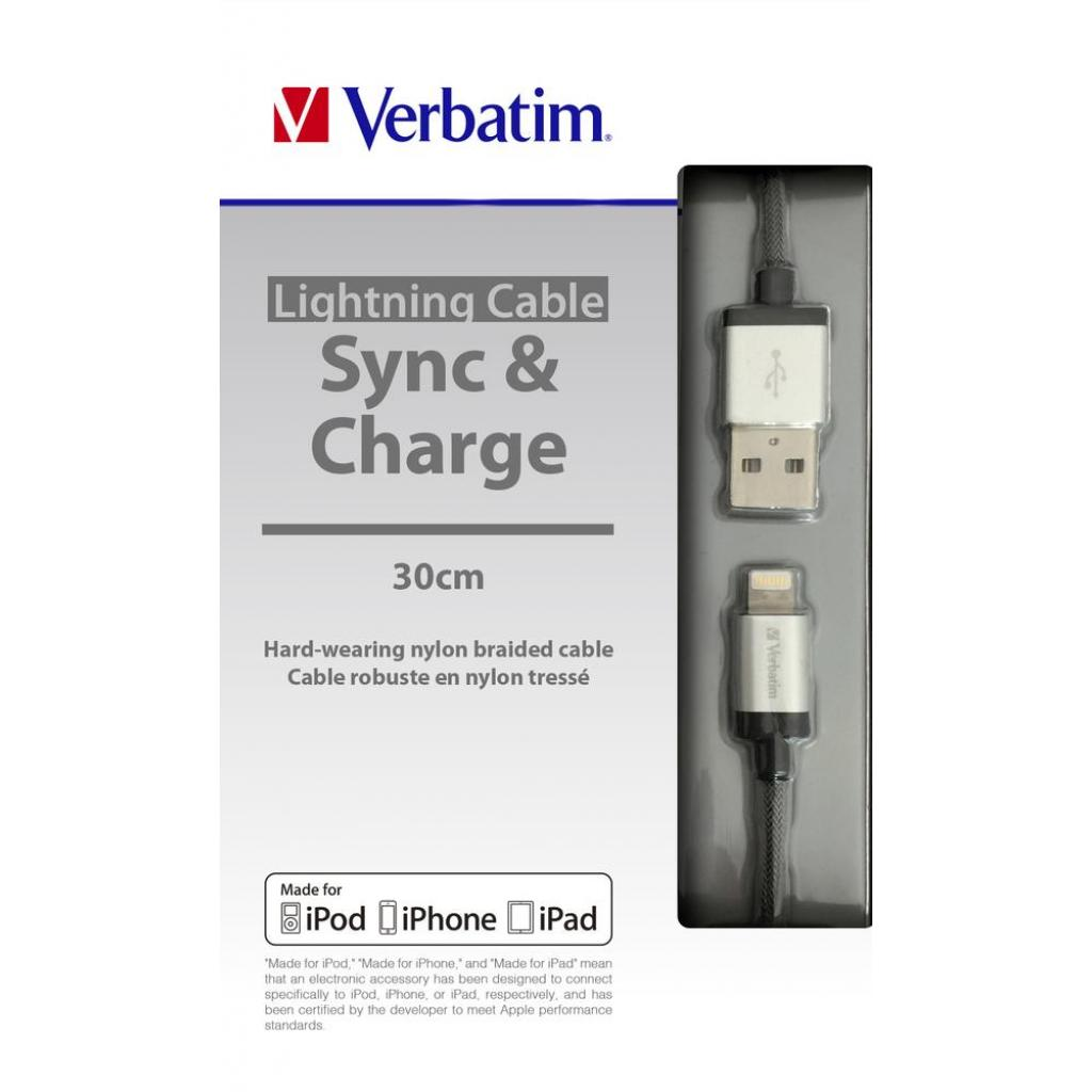 Дата кабель USB 2.0 AM to Lightning 0.3m silver Verbatim (48854) изображение 5
