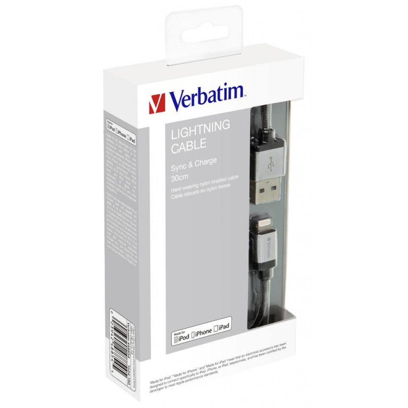 Дата кабель USB 2.0 AM to Lightning 0.3m silver Verbatim (48854) изображение 6