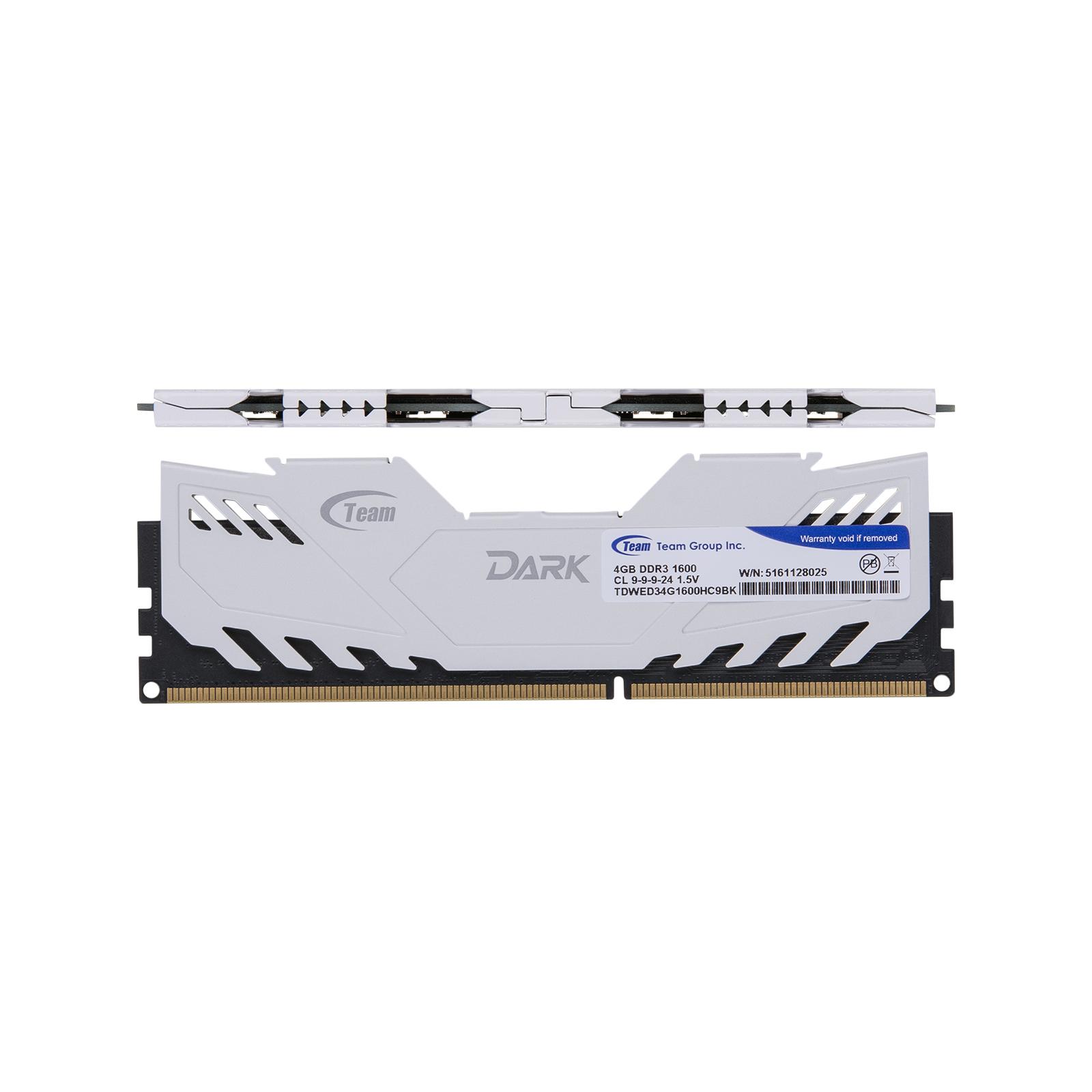 Модуль памяти для компьютера DDR3 4GB 1600 MHz Dark Series White Team (TDWED34G1600HC901) изображение 2