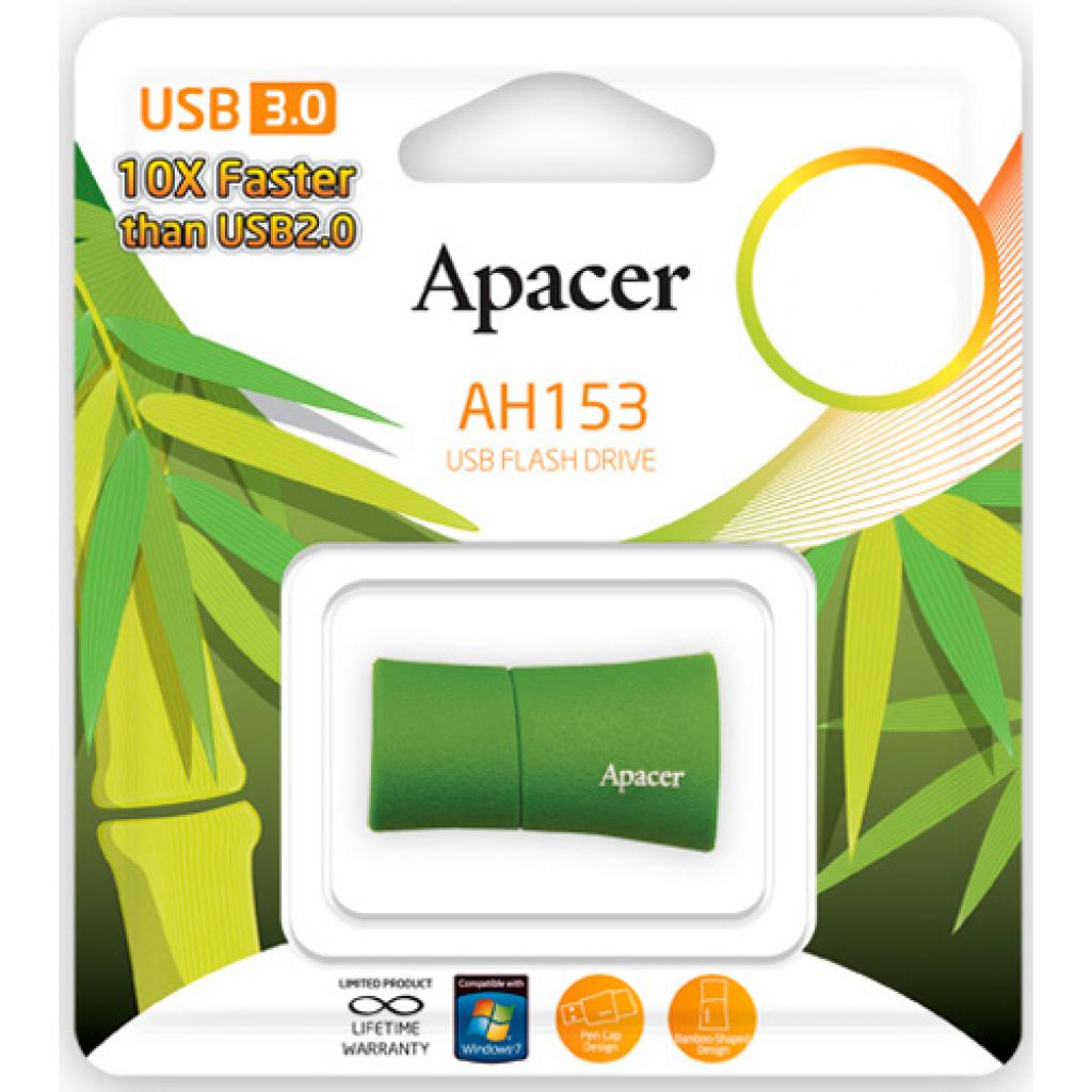 USB флеш накопитель 32GB AH153 Green RP USB3.0 Apacer (AP32GAH153G-1) изображение 5
