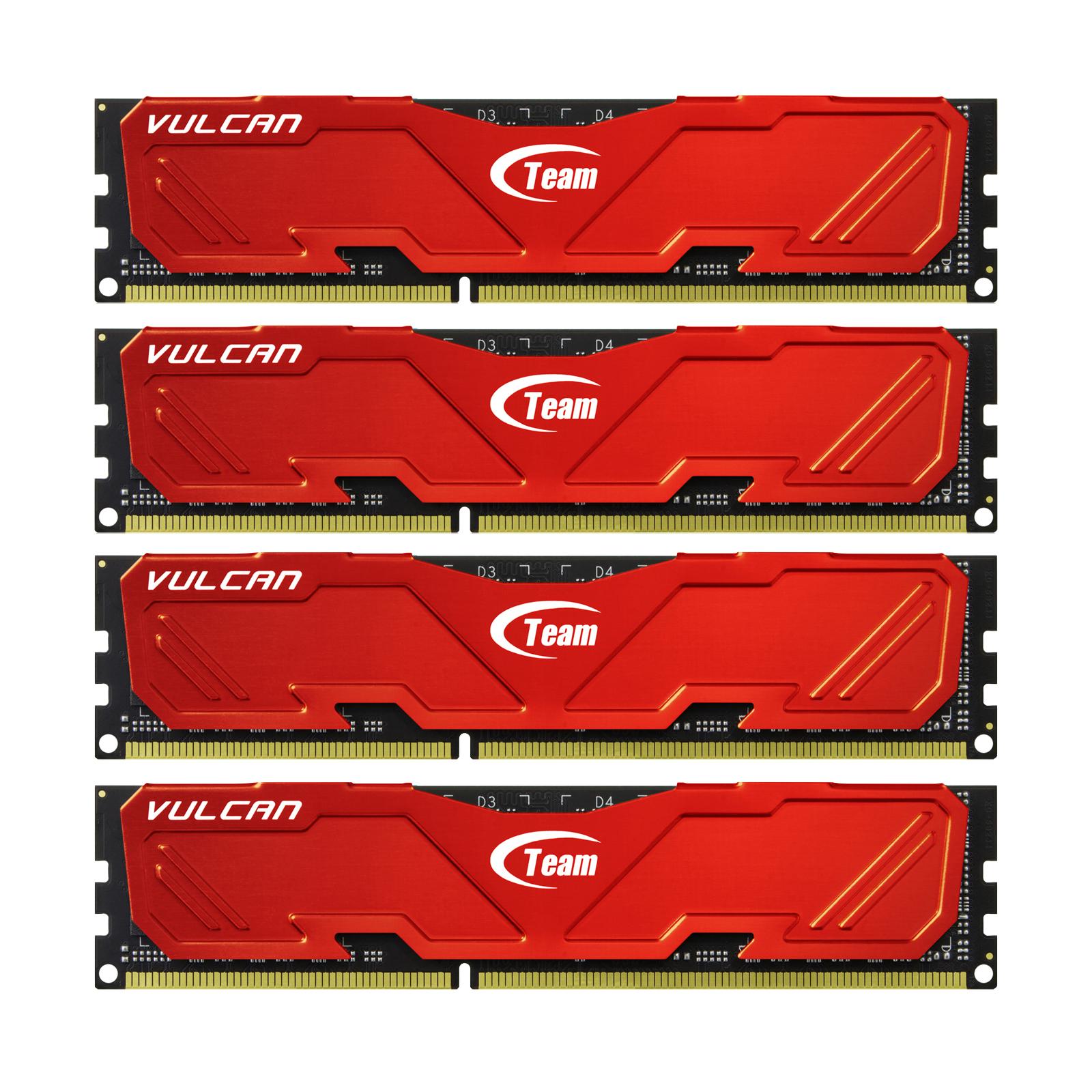 Модуль памяти для компьютера DDR3 32GB (4x8GB) 2133 MHz Vulcan Red Team (TLRED332G2133HC10QQC01)
